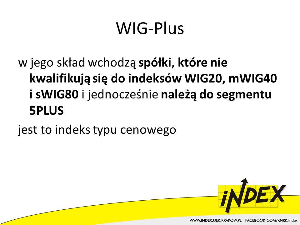 WIG-Plus w jego skład wchodzą spółki, które nie kwalifikują się do indeksów WIG20, mWIG40 i sWIG80 i jednocześnie należą do segmentu 5PLUS jest to indeks typu cenowego