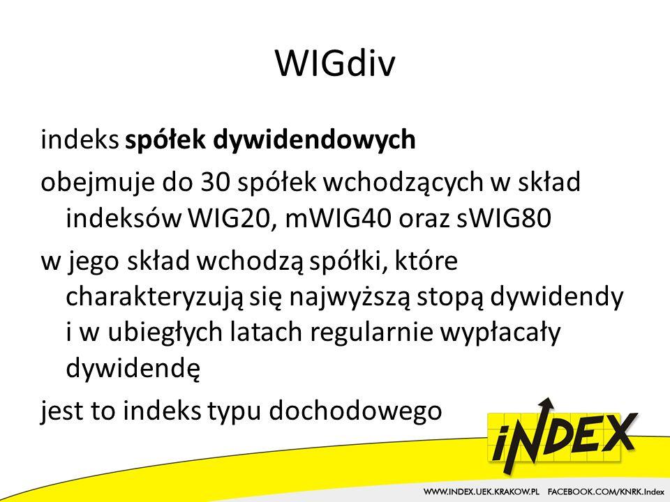 WIGdiv indeks spółek dywidendowych obejmuje do 30 spółek wchodzących w skład indeksów WIG20, mWIG40 oraz sWIG80 w jego skład wchodzą spółki, które charakteryzują się najwyższą stopą dywidendy i w ubiegłych latach regularnie wypłacały dywidendę jest to indeks typu dochodowego
