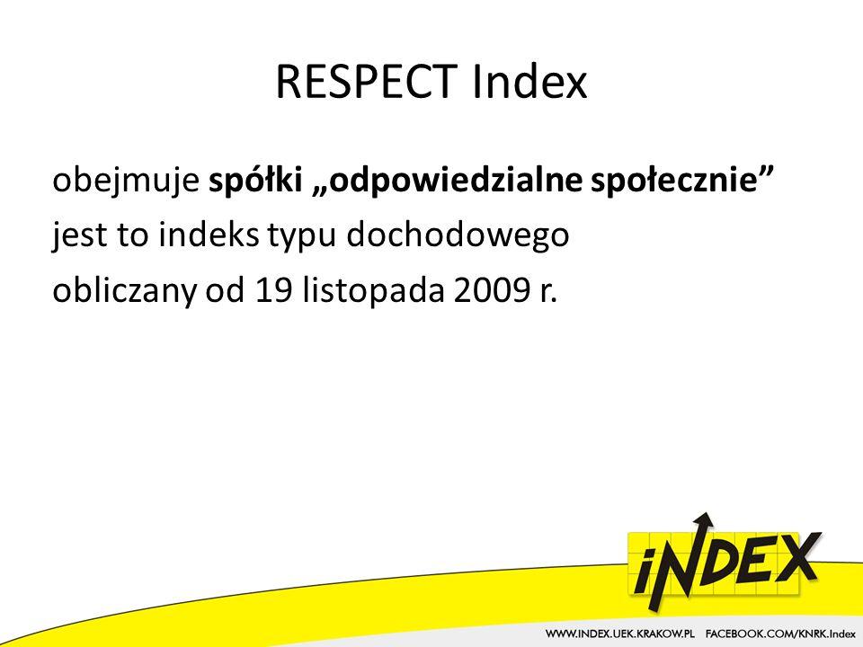 RESPECT Index obejmuje spółki odpowiedzialne społecznie jest to indeks typu dochodowego obliczany od 19 listopada 2009 r.