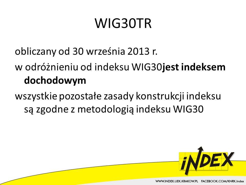 WIG30TR obliczany od 30 września 2013 r.
