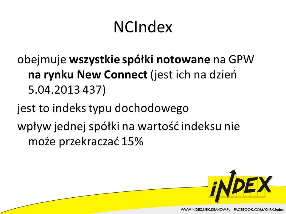 NCIndex obejmuje wszystkie spółki notowane na GPW na rynku New Connect (jest ich na dzień 5.04.2013 437) jest to indeks typu dochodowego wpływ jednej spółki na wartość indeksu nie może przekraczać 15%