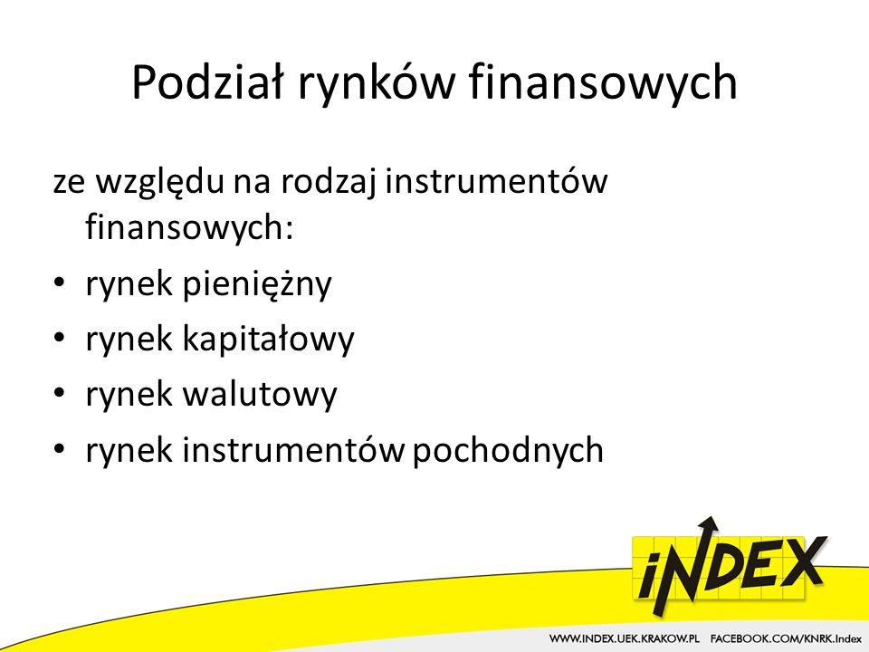 Podział rynków finansowych ze względu na rodzaj instrumentów finansowych: rynek pieniężny rynek kapitałowy rynek walutowy rynek instrumentów pochodnych