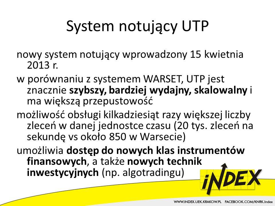 System notujący UTP nowy system notujący wprowadzony 15 kwietnia 2013 r.
