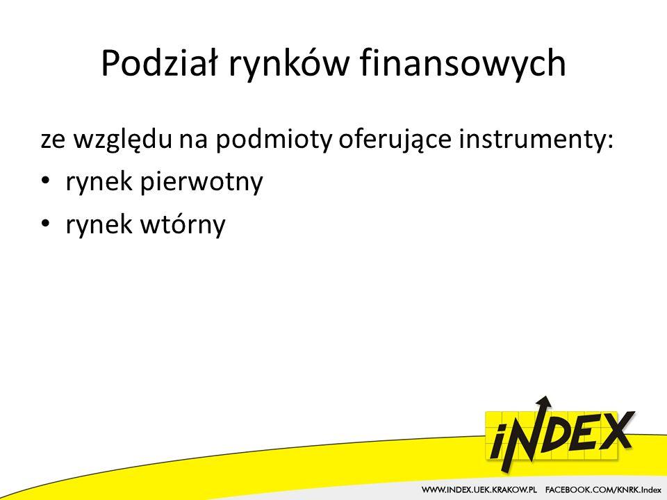 Podział rynków finansowych ze względu na dostępność: rynek prywatny rynek publiczny ze względu na termin rozliczenia transakcji: rynek natychmiastowy (kasowy, spot) rynek terminowy