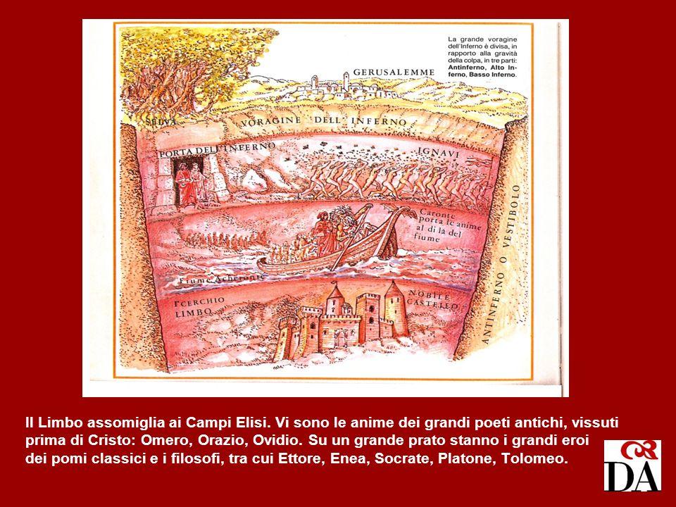Il Limbo assomiglia ai Campi Elisi. Vi sono le anime dei grandi poeti antichi, vissuti prima di Cristo: Omero, Orazio, Ovidio. Su un grande prato stan