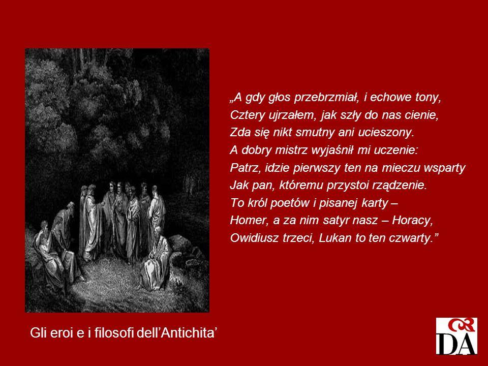 Gli eroi e i filosofi dellAntichita A gdy głos przebrzmiał, i echowe tony, Cztery ujrzałem, jak szły do nas cienie, Zda się nikt smutny ani ucieszony.