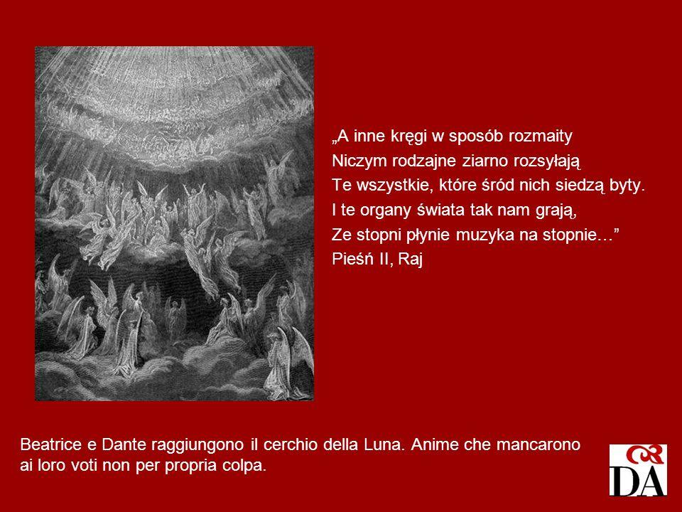Beatrice e Dante raggiungono il cerchio della Luna. Anime che mancarono ai loro voti non per propria colpa. A inne kręgi w sposób rozmaity Niczym rodz