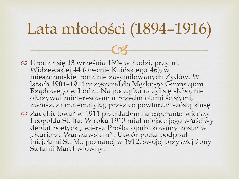 Urodził się 13 września 1894 w Łodzi, przy ul. Widzewskiej 44 (obecnie Kilińskiego 46), w mieszczańskiej rodzinie zasymilowanych Żydów. W latach 1904–