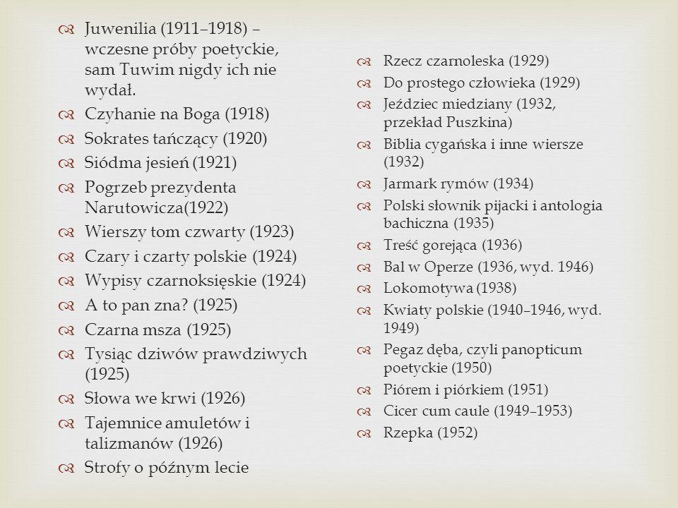 Juwenilia (1911–1918) – wczesne próby poetyckie, sam Tuwim nigdy ich nie wydał. Czyhanie na Boga (1918) Sokrates tańczący (1920) Siódma jesień (1921)
