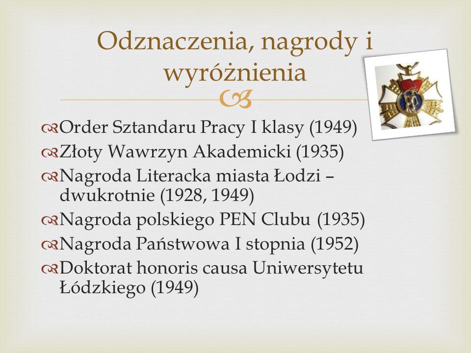 Order Sztandaru Pracy I klasy (1949) Złoty Wawrzyn Akademicki (1935) Nagroda Literacka miasta Łodzi – dwukrotnie (1928, 1949) Nagroda polskiego PEN Cl