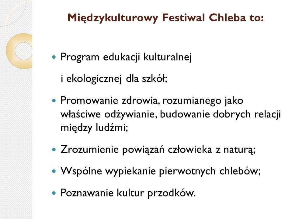 Międzykulturowy Festiwal Chleba to: Program edukacji kulturalnej i ekologicznej dla szkół; Promowanie zdrowia, rozumianego jako właściwe odżywianie, budowanie dobrych relacji między ludźmi; Zrozumienie powiązań człowieka z naturą; Wspólne wypiekanie pierwotnych chlebów; Poznawanie kultur przodków.