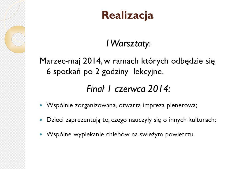 Realizacja I Warsztaty : Marzec-maj 2014, w ramach których odbędzie się 6 spotkań po 2 godziny lekcyjne.