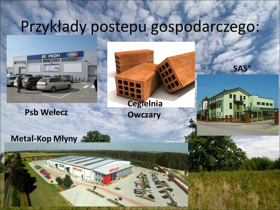 Przykłady postepu gospodarczego: Cegielnia Owczary Psb Wełecz SAS Metal-Kop Młyny