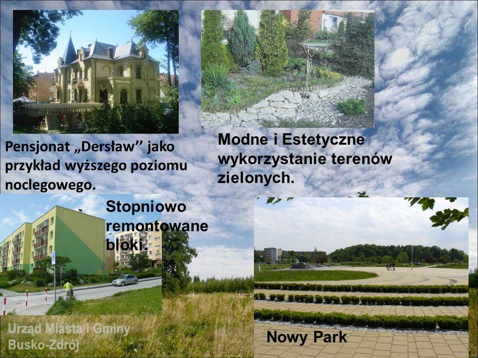 Pensjonat Dersław jako przykład wyższego poziomu noclegowego. Nowy Park Modne i Estetyczne wykorzystanie terenów zielonych. Stopniowo remontowane blok