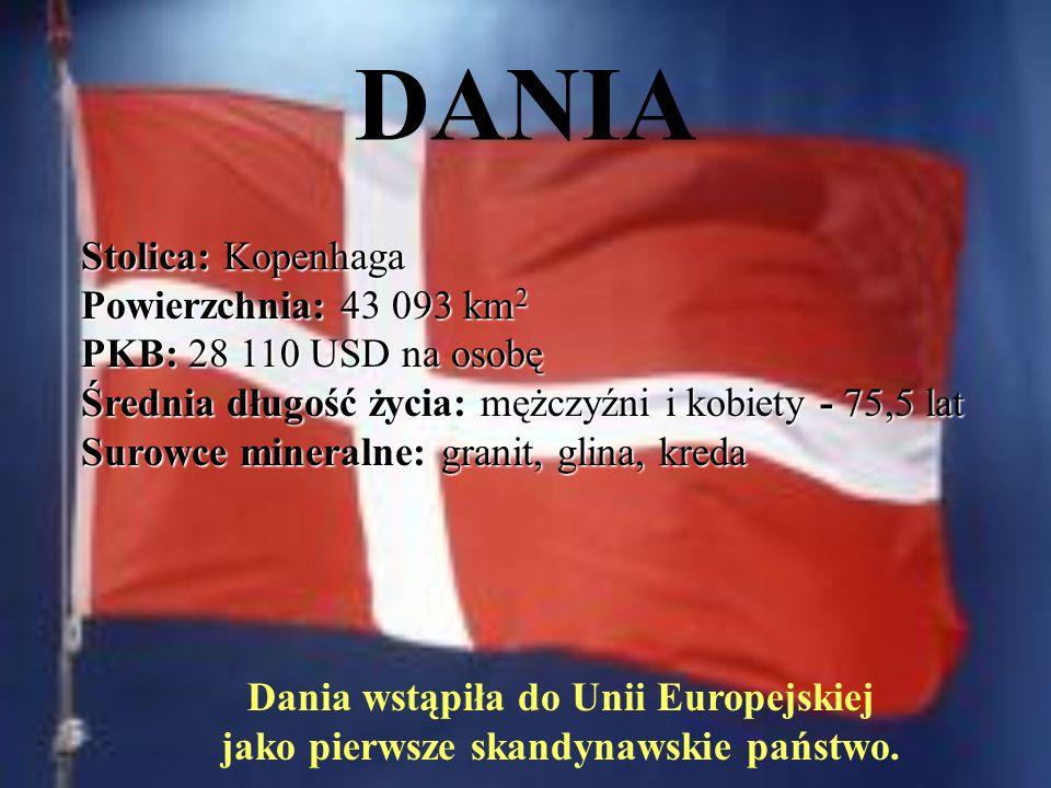 DANIA Stolica: Kopenhaga Powierzchnia: 43 093 km 2 PKB: 28 110 USD na osobę Średnia długość życia: mężczyźni i kobiety - 75,5 lat Surowce mineralne: granit, glina, kreda Dania wstąpiła do Unii Europejskiej jako pierwsze skandynawskie państwo.