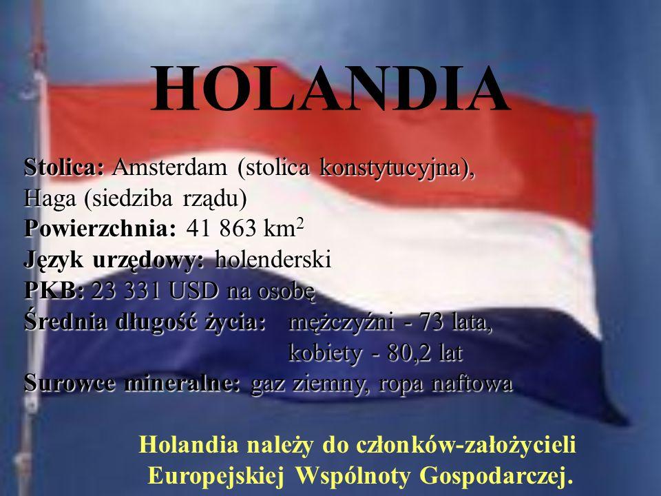 HOLANDIA Stolica: Amsterdam (stolica konstytucyjna), Haga (siedziba rządu) Powierzchnia: 41 863 km 2 Język urzędowy: holenderski PKB: 23 331 USD na osobę Średnia długość życia: mężczyźni - 73 lata, kobiety - 80,2 lat Surowce mineralne: gaz ziemny, ropa naftowa Holandia należy do członków-założycieli Europejskiej Wspólnoty Gospodarczej.