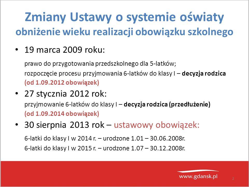 2 Zmiany Ustawy o systemie oświaty obniżenie wieku realizacji obowiązku szkolnego 19 marca 2009 roku: prawo do przygotowania przedszkolnego dla 5-latk