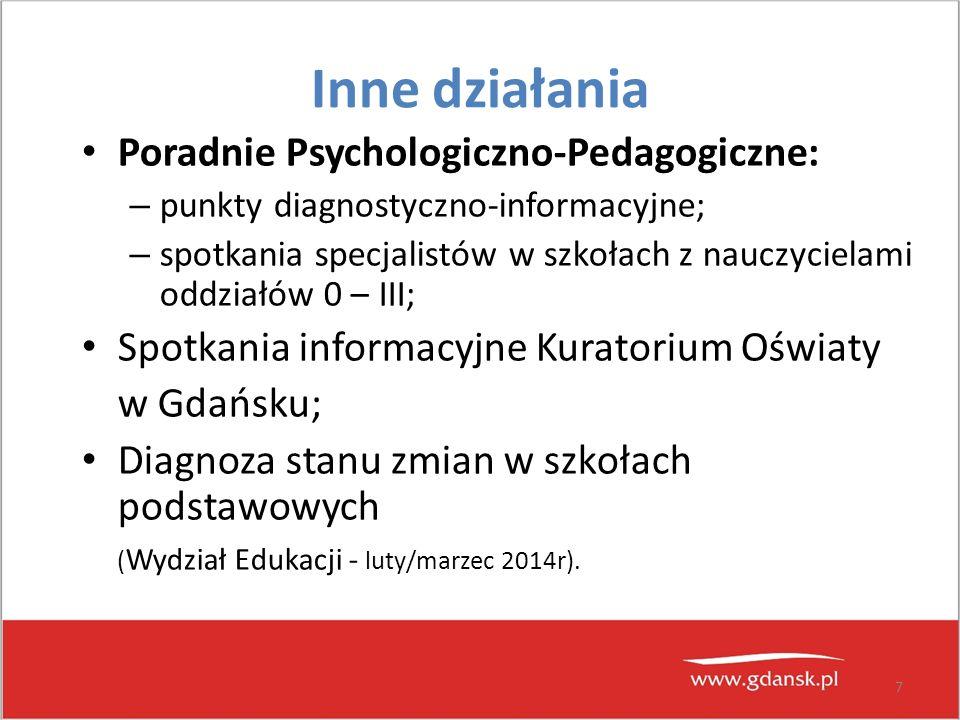 7 Inne działania Poradnie Psychologiczno-Pedagogiczne: – punkty diagnostyczno-informacyjne; – spotkania specjalistów w szkołach z nauczycielami oddzia