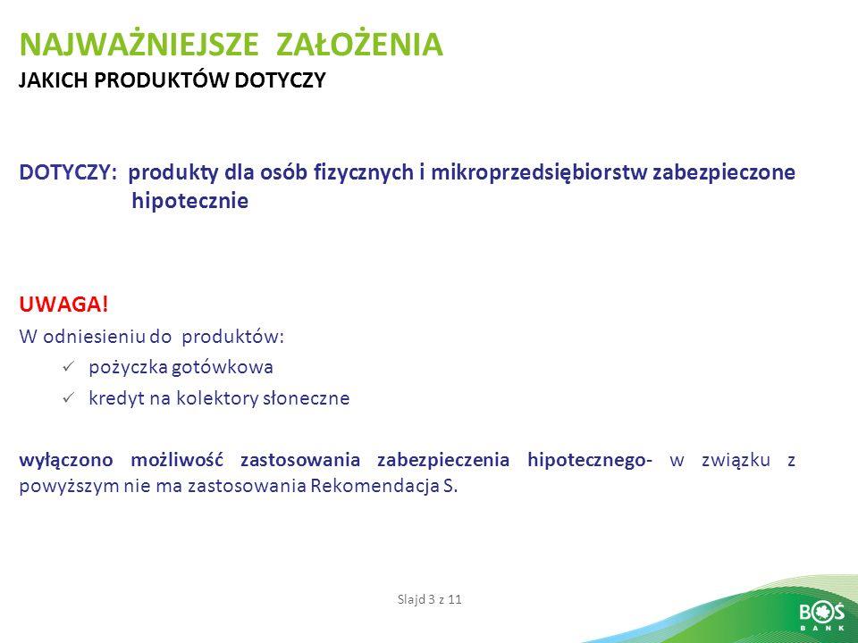 Slajd 3 z 11 NAJWAŻNIEJSZE ZAŁOŻENIA JAKICH PRODUKTÓW DOTYCZY DOTYCZY: produkty dla osób fizycznych i mikroprzedsiębiorstw zabezpieczone hipotecznie UWAGA.