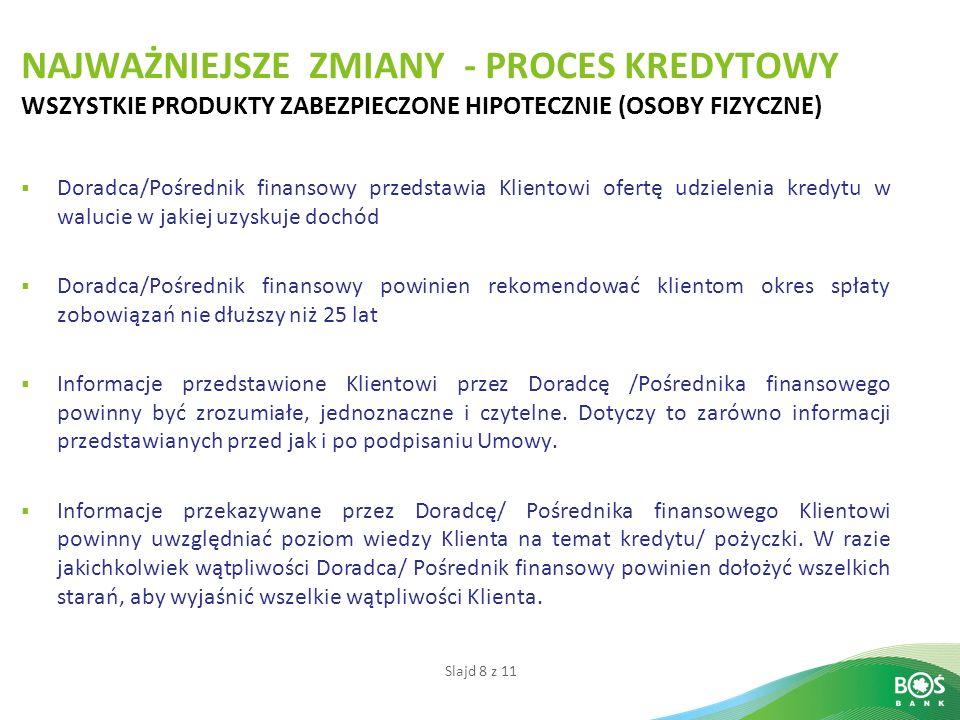 Slajd 8 z 11 NAJWAŻNIEJSZE ZMIANY - PROCES KREDYTOWY WSZYSTKIE PRODUKTY ZABEZPIECZONE HIPOTECZNIE (OSOBY FIZYCZNE) Doradca/Pośrednik finansowy przedst