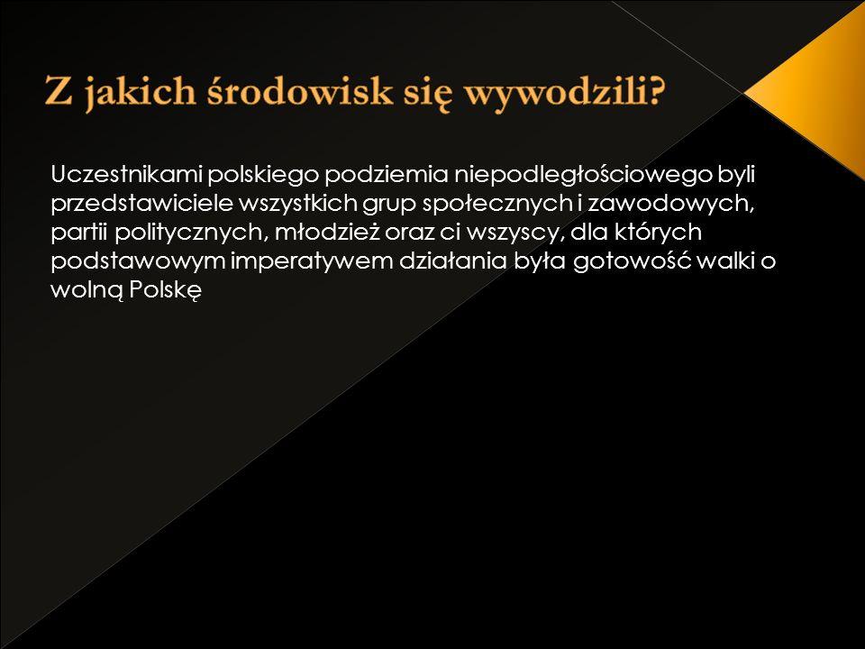 Uczestnikami polskiego podziemia niepodległościowego byli przedstawiciele wszystkich grup społecznych i zawodowych, partii politycznych, młodzież oraz