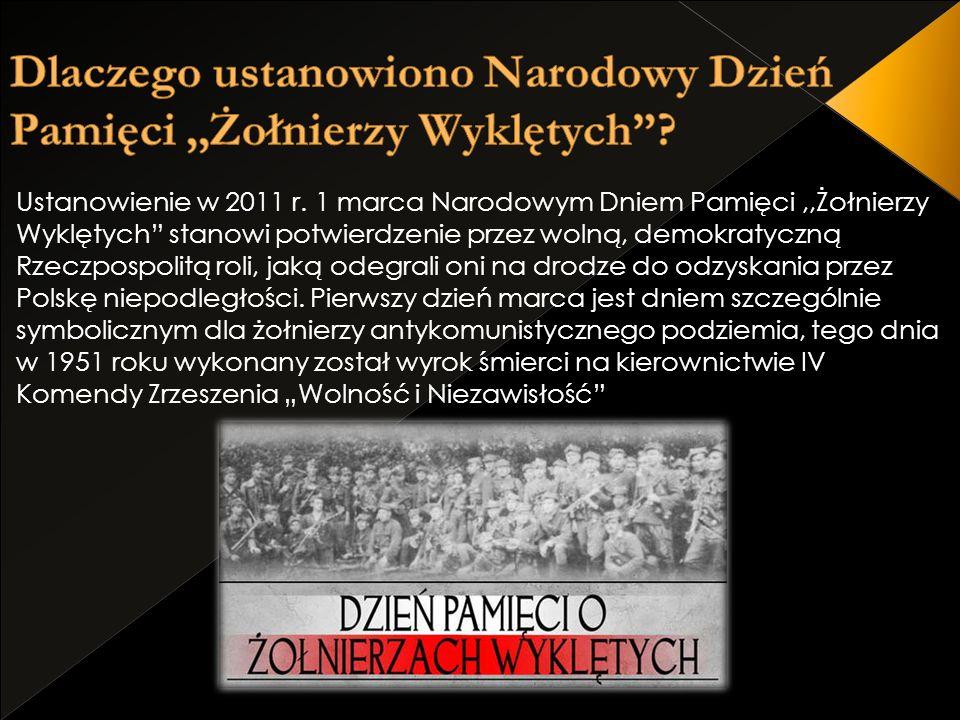 Ustanowienie w 2011 r. 1 marca Narodowym Dniem Pamięci,,Żołnierzy Wyklętych stanowi potwierdzenie przez wolną, demokratyczną Rzeczpospolitą roli, jaką