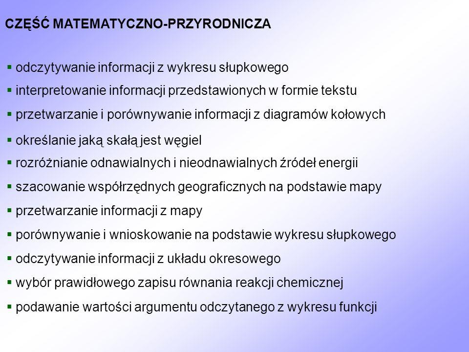 CZĘŚĆ MATEMATYCZNO-PRZYRODNICZA odczytywanie informacji z wykresu słupkowego interpretowanie informacji przedstawionych w formie tekstu przetwarzanie