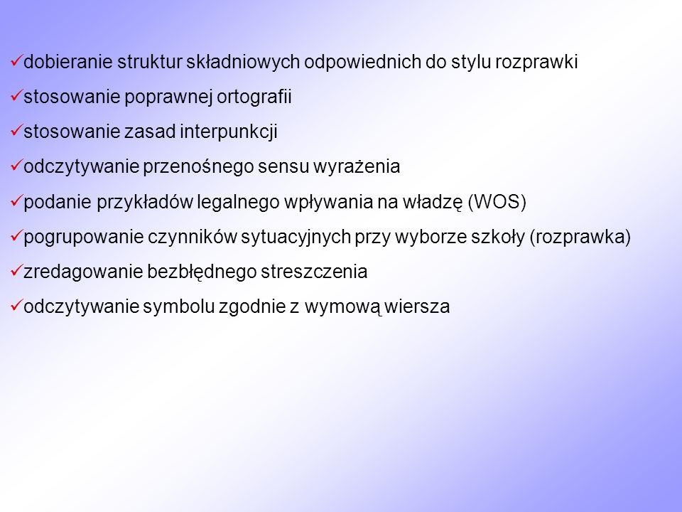 dobieranie struktur składniowych odpowiednich do stylu rozprawki stosowanie poprawnej ortografii stosowanie zasad interpunkcji odczytywanie przenośneg