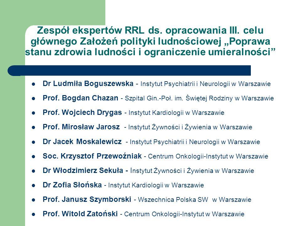 Priorytety zdrowia publicznego w polityce ludnościowej Poprawa stanu zdrowia matek i dzieci; Ograniczenie zachorowalności i umieralności z powodu chorób układu krążenia; Ograniczanie zachorowalności i umieralności z powodu chorób nowotworowych; Ograniczenie zachorowań i umieralności z powodu przewlekłych chorób niezakaźnych poprzez poprawę żywienia i zwiększenie aktywności fizycznej społeczeństwa; Poprawa stanu zdrowia psychicznego Polaków; Promocja zdrowia jako strategia rozwiązywania współczesnych problemów zdrowotnych.