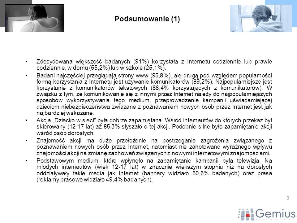 24 Zapamiętanie reklam akcji Dziecko w sieci – dane dla dzieci w podziale demograficznym Źródło: gemiusAdHoc, Październik 2004