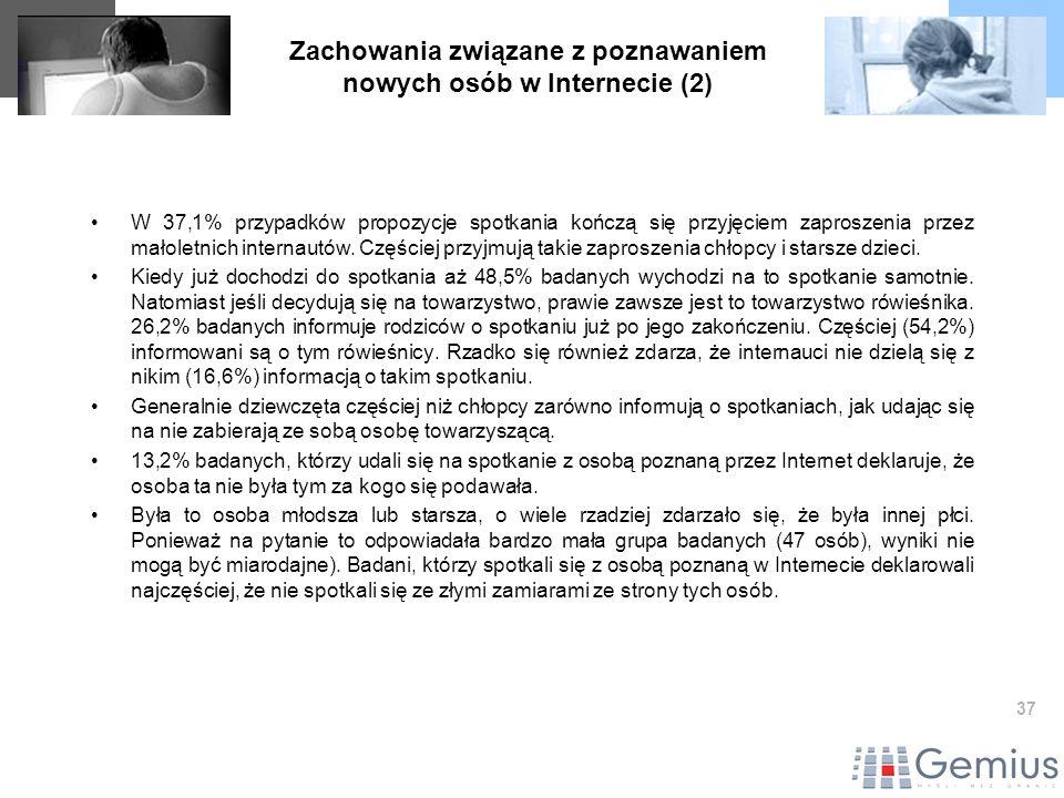 37 Zachowania związane z poznawaniem nowych osób w Internecie (2) W 37,1% przypadków propozycje spotkania kończą się przyjęciem zaproszenia przez małoletnich internautów.