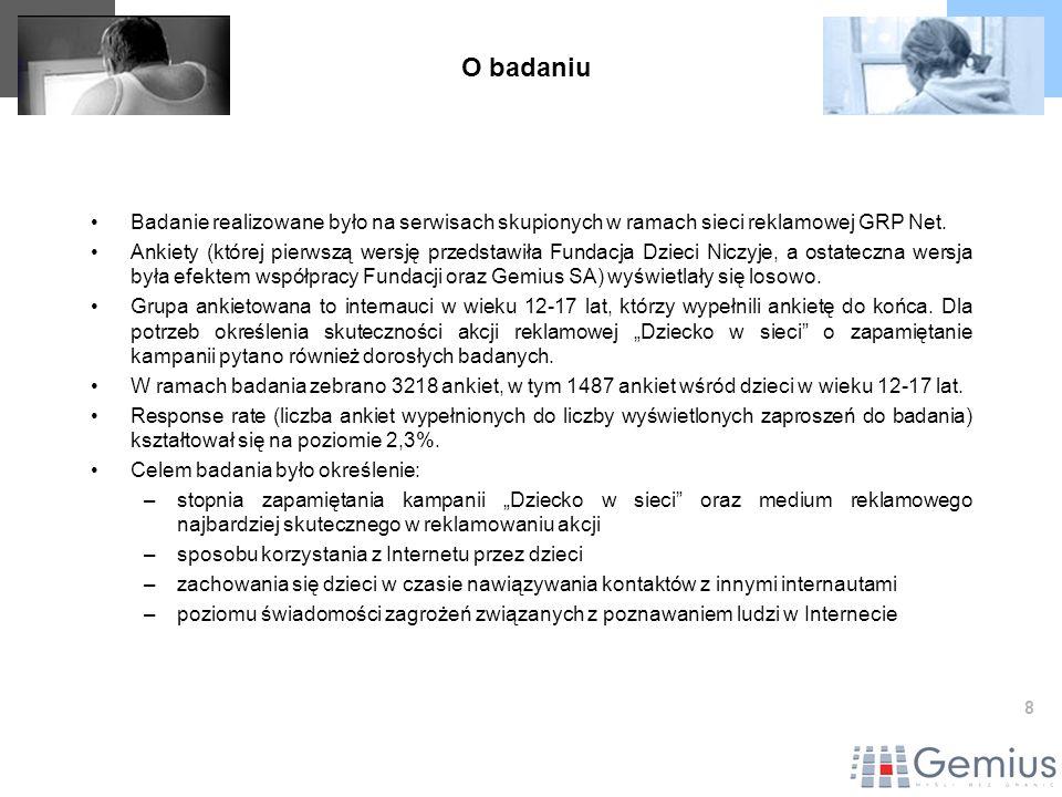 8 Badanie realizowane było na serwisach skupionych w ramach sieci reklamowej GRP Net. Ankiety (której pierwszą wersję przedstawiła Fundacja Dzieci Nic