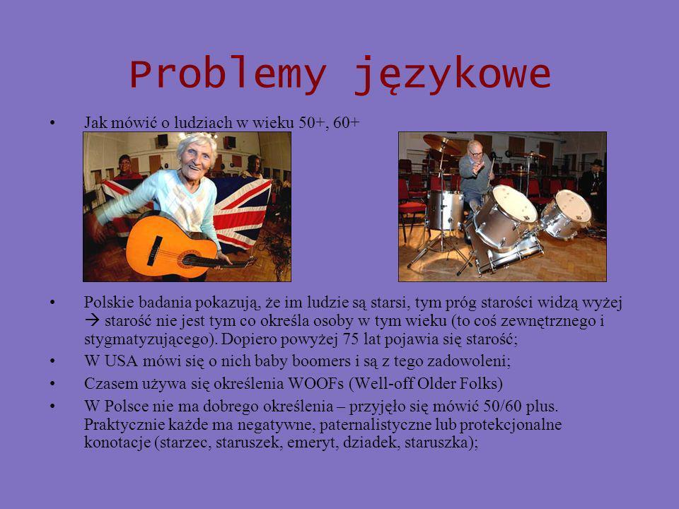 Problemy językowe Jak mówić o ludziach w wieku 50+, 60+ Polskie badania pokazują, że im ludzie są starsi, tym próg starości widzą wyżej starość nie jest tym co określa osoby w tym wieku (to coś zewnętrznego i stygmatyzującego).