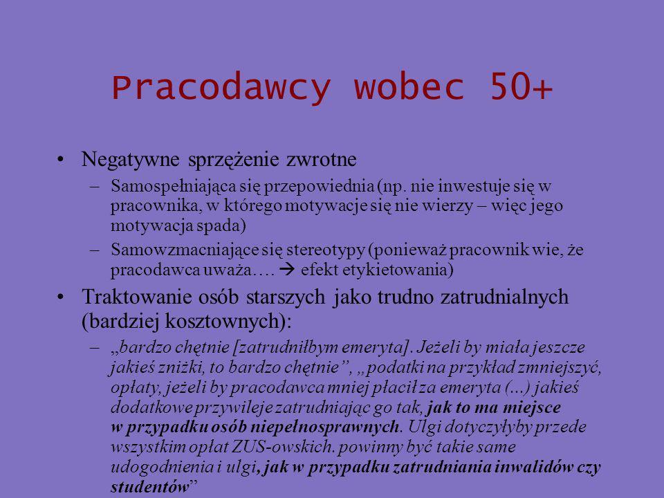 Pracodawcy wobec 50+ Negatywne sprzężenie zwrotne –Samospełniająca się przepowiednia (np.