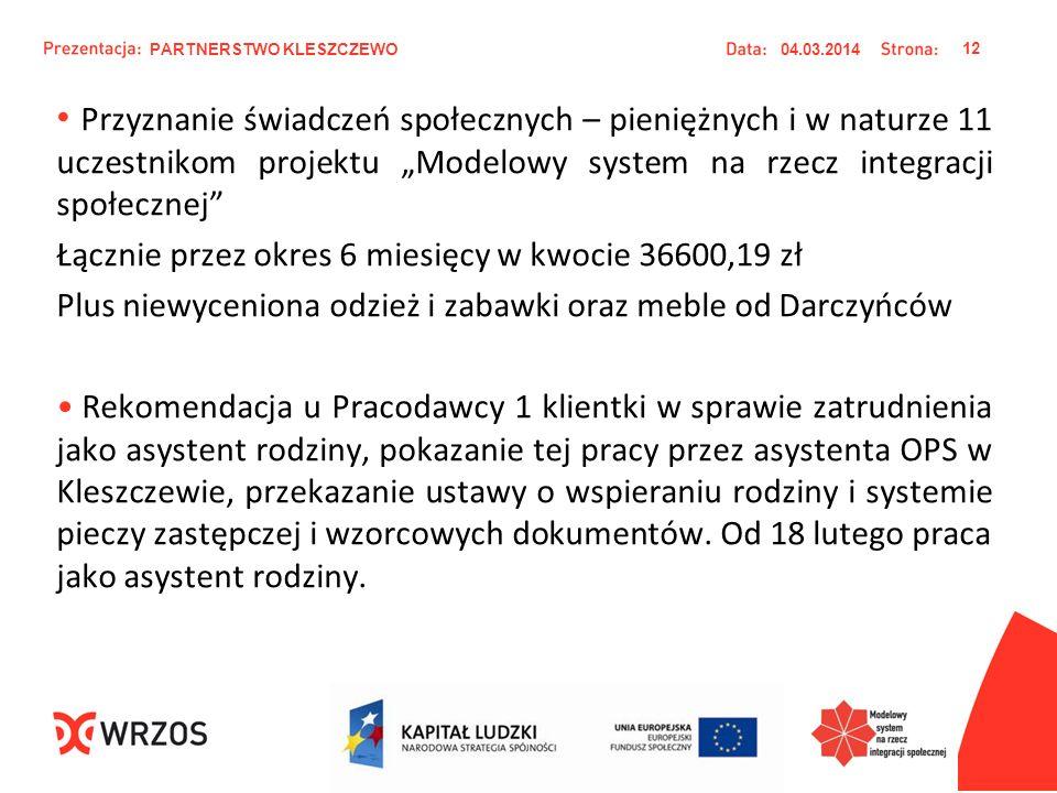 Przyznanie świadczeń społecznych – pieniężnych i w naturze 11 uczestnikom projektu Modelowy system na rzecz integracji społecznej Łącznie przez okres