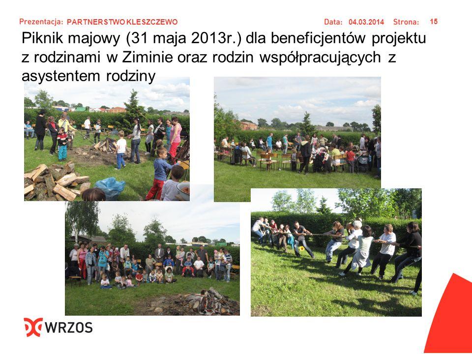 Piknik majowy (31 maja 2013r.) dla beneficjentów projektu z rodzinami w Ziminie oraz rodzin współpracujących z asystentem rodziny 04.03.2014 15 PARTNE