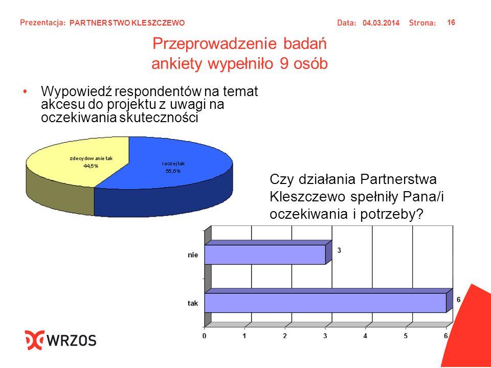 Przeprowadzenie badań ankiety wypełniło 9 osób Wypowiedź respondentów na temat akcesu do projektu z uwagi na oczekiwania skuteczności Czy działania Pa