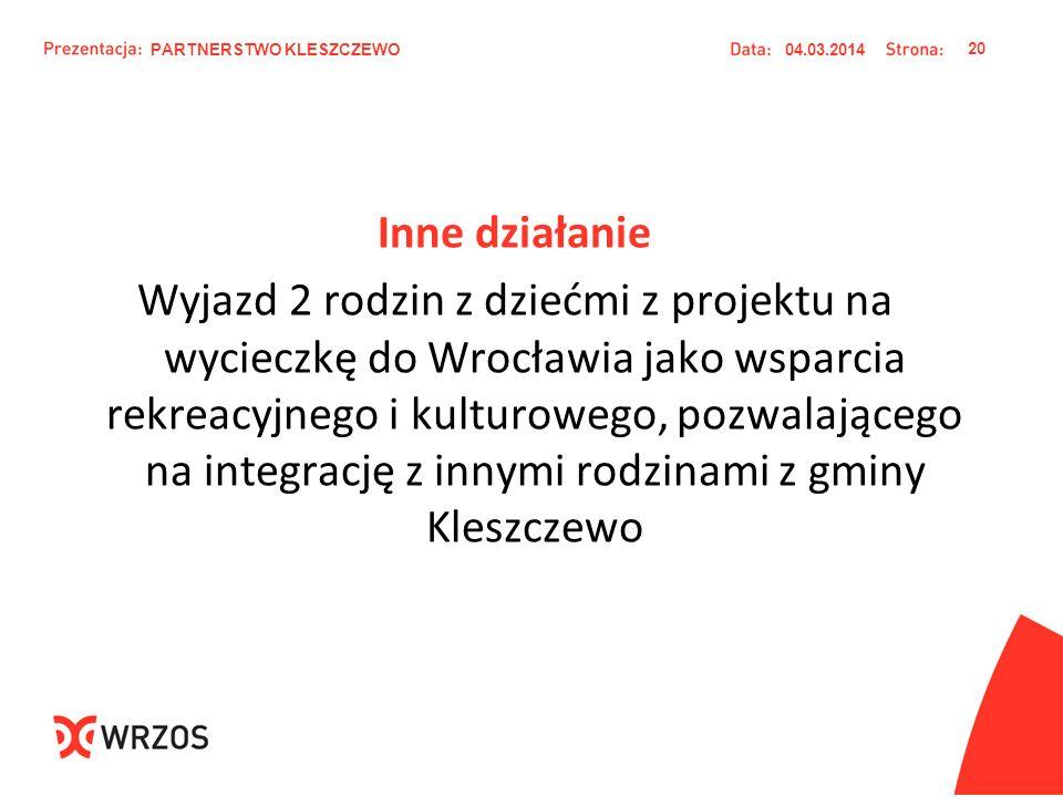 Inne działanie Wyjazd 2 rodzin z dziećmi z projektu na wycieczkę do Wrocławia jako wsparcia rekreacyjnego i kulturowego, pozwalającego na integrację z