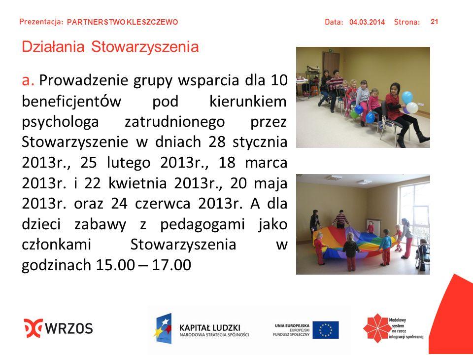 Działania Stowarzyszenia a. Prowadzenie grupy wsparcia dla 10 beneficjent ó w pod kierunkiem psychologa zatrudnionego przez Stowarzyszenie w dniach 28