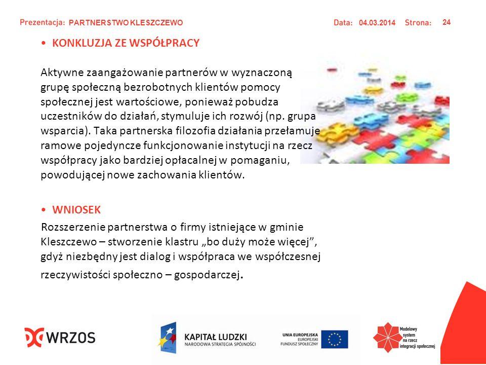 KONKLUZJA ZE WSPÓŁPRACY Aktywne zaangażowanie partnerów w wyznaczoną grupę społeczną bezrobotnych klientów pomocy społecznej jest wartościowe, poniewa