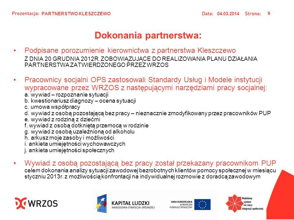 Dokonania partnerstwa: Podpisane porozumienie kierownictwa z partnerstwa Kleszczewo Z DNIA 20 GRUDNIA 2012R. ZOBOWIĄZUJĄCE DO REALIZOWANIA PLANU DZIAŁ