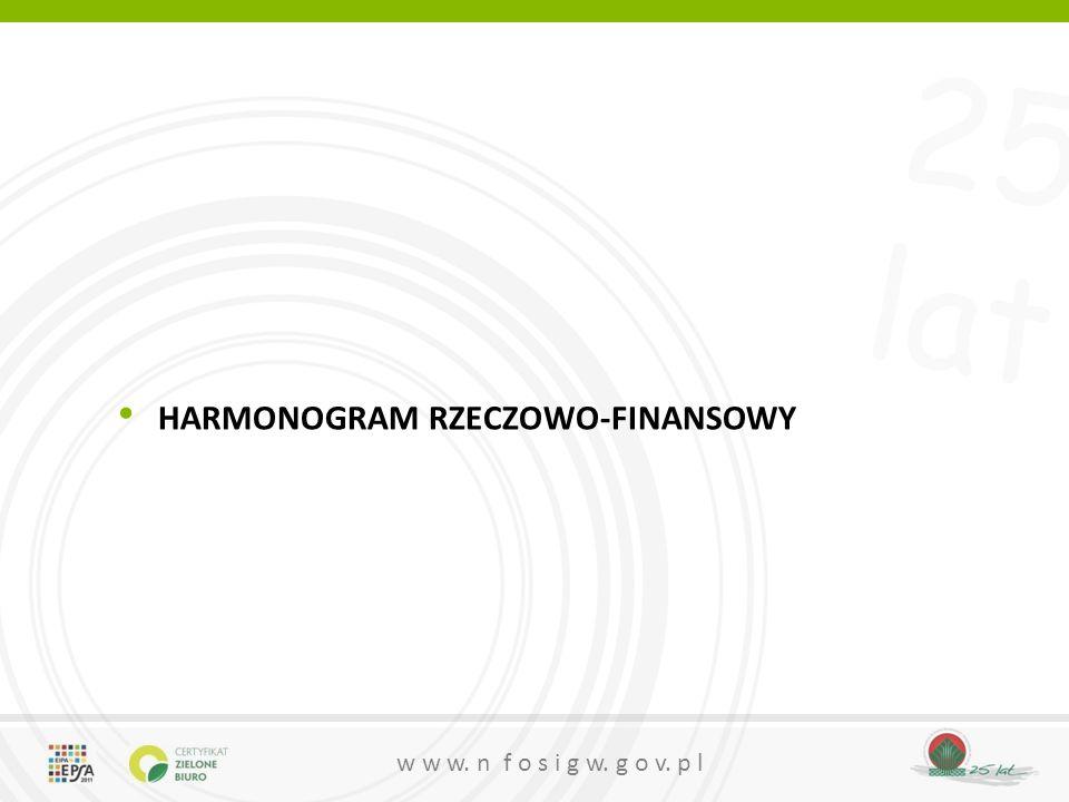 25 lat w w w. n f o s i g w. g o v. p l HARMONOGRAM RZECZOWO-FINANSOWY