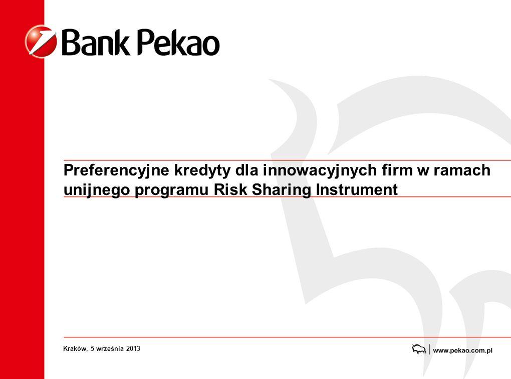 1 Badania prowadzone przez Bank Pekao SA wskazują na duży potencjał dla zewnętrznego finansowania innowacyjnych firm Bank Pekao przygotowuje co roku Raport o sytuacji mikro i małych firm* na podstawie 7 tysięcy wywiadów z właścicielami przedsiębiorstw, Zgodnie z wynikami badań z roku 2012: W ciągu ostatnich 12 miesięcy innowację produktową wprowadziło 26% firm, a innowację procesową 19%, Najwięcej innowacyjnych firm w branży produkcyjnej (innowacja produktowa - 45%, procesowa - 35%), 96% wydatków na innowacje nie przekroczyło kwoty 100 tysięcy złotych, Dostęp do finansowania zewnętrznego nie jest problemem, 13% innowacyjnych projektów sfinansowanych kredytem, 44% firm zamierza korzystać w przyszłości z programów pomocowych.