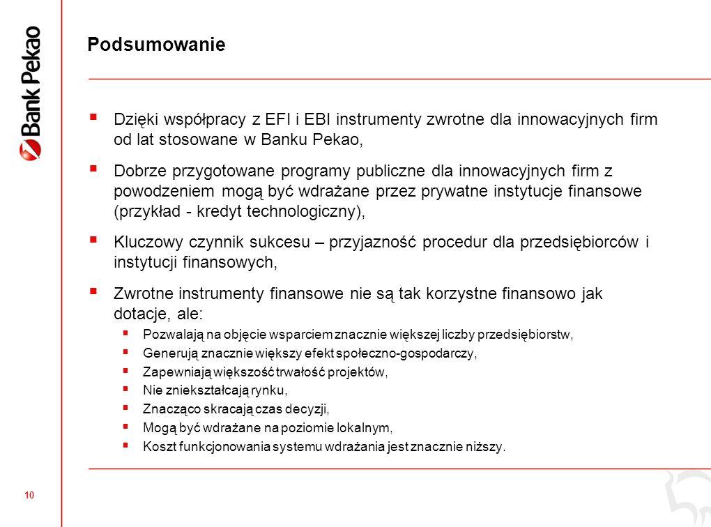 10 Podsumowanie Dzięki współpracy z EFI i EBI instrumenty zwrotne dla innowacyjnych firm od lat stosowane w Banku Pekao, Dobrze przygotowane programy publiczne dla innowacyjnych firm z powodzeniem mogą być wdrażane przez prywatne instytucje finansowe (przykład - kredyt technologiczny), Kluczowy czynnik sukcesu – przyjazność procedur dla przedsiębiorców i instytucji finansowych, Zwrotne instrumenty finansowe nie są tak korzystne finansowo jak dotacje, ale: Pozwalają na objęcie wsparciem znacznie większej liczby przedsiębiorstw, Generują znacznie większy efekt społeczno-gospodarczy, Zapewniają większość trwałość projektów, Nie zniekształcają rynku, Znacząco skracają czas decyzji, Mogą być wdrażane na poziomie lokalnym, Koszt funkcjonowania systemu wdrażania jest znacznie niższy.
