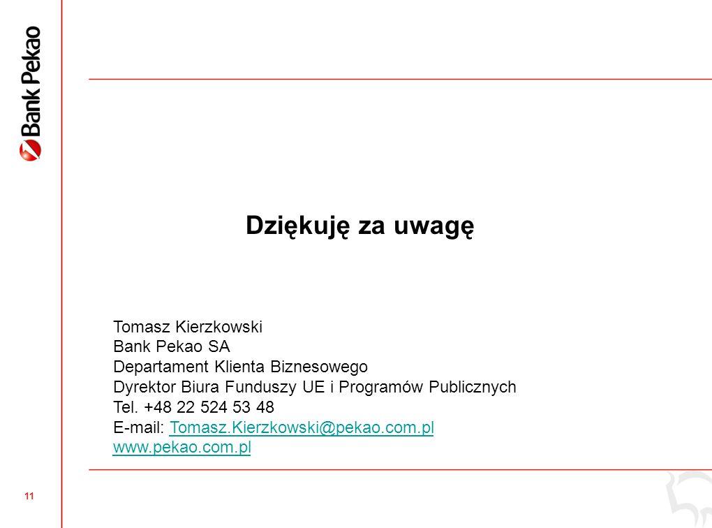 11 Dziękuję za uwagę Tomasz Kierzkowski Bank Pekao SA Departament Klienta Biznesowego Dyrektor Biura Funduszy UE i Programów Publicznych Tel.