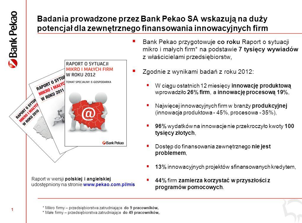 2 Umowa poręczeniowa Banku Pekao z Europejskim Funduszem Inwestycyjnym (EFI) skierowana do innowacyjnych firm Umowa poręczeń portfelowych* pomiędzy Bankiem Pekao a Europejskim Funduszem Inwestycyjnym, Wdrożenie umowy w połowie września 2013, Bank Pekao uczestniczy w RSI jako jedyna instytucja finansowa w Polsce, 331 mln PLN linii kredytowej dostępnej do 30 czerwca 2015 r.