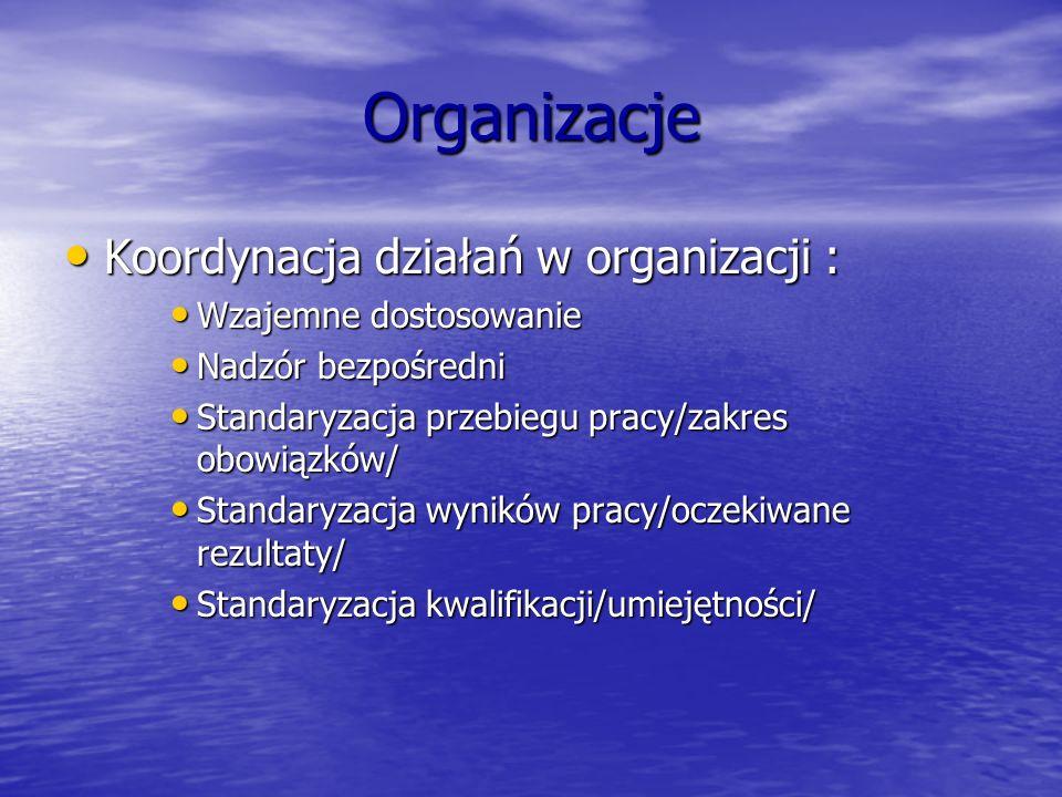 Organizacje Koordynacja działań w organizacji : Koordynacja działań w organizacji : Wzajemne dostosowanie Wzajemne dostosowanie Nadzór bezpośredni Nad