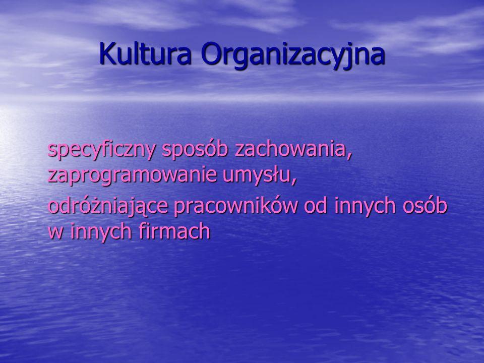 Kultura Organizacyjna specyficzny sposób zachowania, zaprogramowanie umysłu, odróżniające pracowników od innych osób w innych firmach