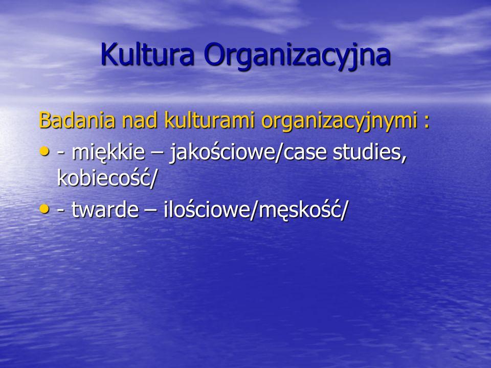 Kultura Organizacyjna Badania nad kulturami organizacyjnymi : - miękkie – jakościowe/case studies, kobiecość/ - miękkie – jakościowe/case studies, kob