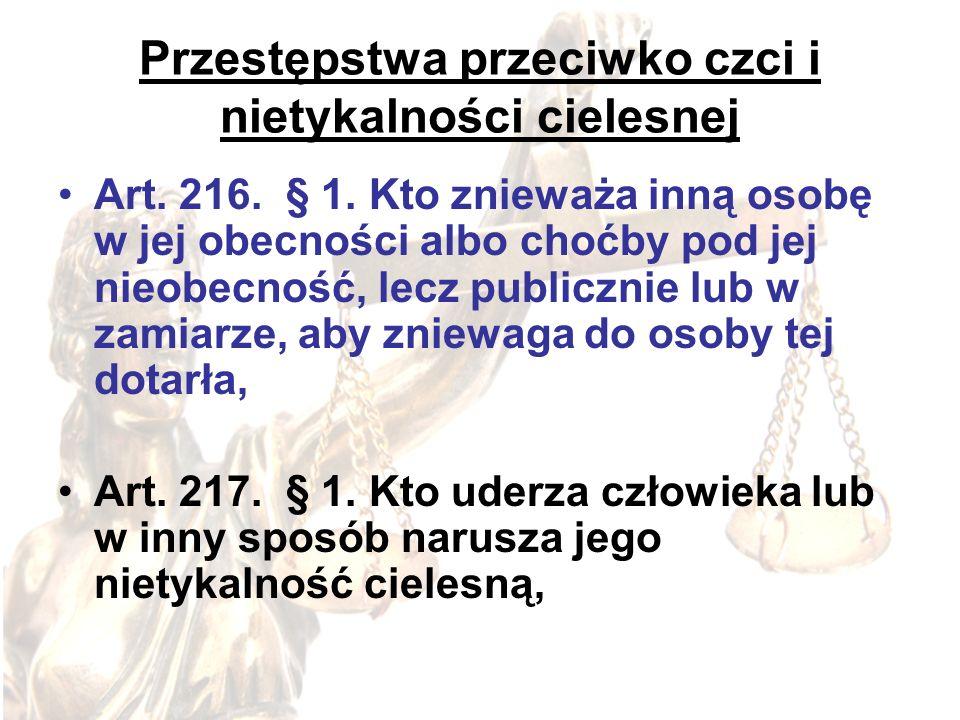 Przestępstwa przeciwko czci i nietykalności cielesnej Art. 216. § 1. Kto znieważa inną osobę w jej obecności albo choćby pod jej nieobecność, lecz pub